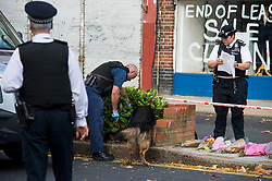 © Licensed to London News Pictures. 11/10/2015. London, UK. Police with a sniffer dog perform fingertip searches at The scene outside the RE bar in Field End Road, Eastcote, Hillingdon where a man was stabbed to death early this morning (SUN). The victim is believed to be  21-year-old Josh Hanson from Kingsbury.  Photo credit: Ben Cawthra/LNP