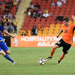 BRISBANE, AUSTRALIA - JANUARY 31: Shannon Brady of the Roar dribbles the ball during the second qualifying round of the Asian Champions League match between the Brisbane Roar and Global FC at Suncorp Stadium on January 31, 2017 in Brisbane, Australia. (Photo by Patrick Kearney/Brisbane Roar)
