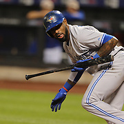 Jose Reyes, Toronto Blue Jays, batting during the New York Mets Vs Toronto Blue Jays MLB regular season baseball game at Citi Field, Queens, New York. USA. 15th June 2015. Photo Tim Clayton