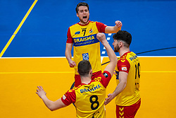 Frits van Gestel of Dynamo celebrate during the cup final between Amysoft Lycurgus vs. Draisma Dynamo on April 18, 2021 in sports hall Alfa College in Groningen