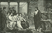 Galen (Claudius Galenus c130-201 AD) Greek physician who moved to Rome and became physician to three emperors.  Galen lecturing on anatomy in the Temple of Peace, Rome. Artist's reconstruction published Paris, 1866.
