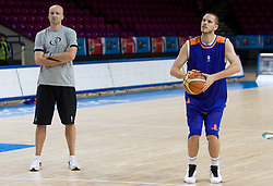 Jure Zdovc and Bostjan Nachbar  at practice of Slovenian National Basketball team in Arena Torwar two days before the beginning of the Eurobasket 2009, on September 05, 2009 in Warsaw, Poland. (Photo by Vid Ponikvar / Sportida)