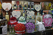 Romantic gifts display in a Naples cafe.