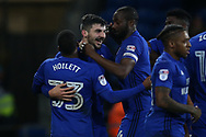 Callum Paterson of Cardiff city © celebrates with his teammates after he scores his teams 1st goal. EFL Skybet championship match, Cardiff city v Barnsley at the Cardiff city stadium in Cardiff, South Wales on Tuesday 6th March 2018.<br /> pic by Andrew Orchard, Andrew Orchard sports photography.