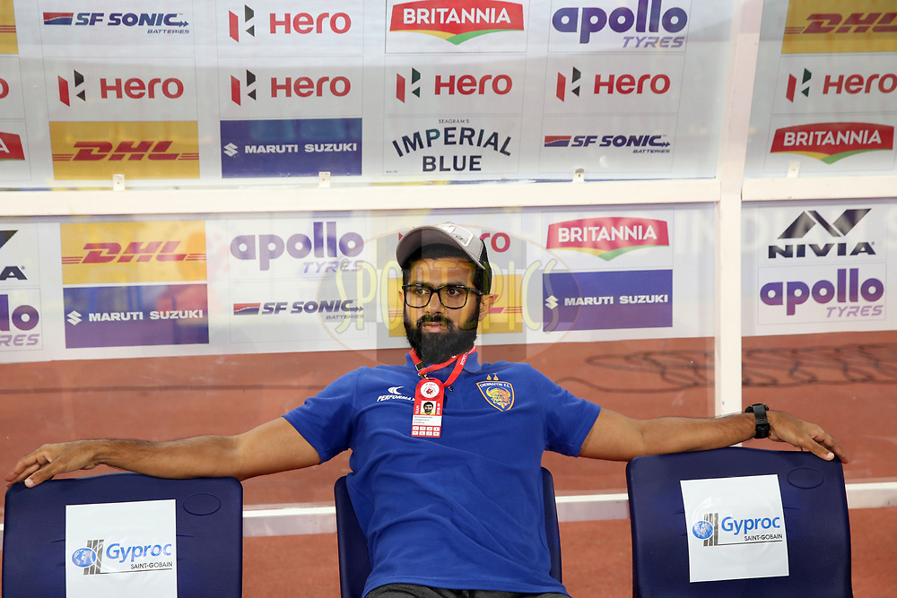 Mohammed Rafi of Chennaiyin FC arrive before the start of the match 27 of the Hero Indian Super League 2018 ( ISL ) between Chennaiyin FC  and Mumbai City FC  held at the Jawaharlal Nehru Stadium, Chennai, India on the 3rd November 2018<br /> <br /> Photo by: Faheem Hussain /SPORTZPICS for ISL