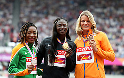 Gold medalist USA's Tori Bowie (centre) Silver medalist Ivory Coast's Marie-Josee Ta Lou (left) and bronze medalist The Netherlands' Dafne Schippers after the women's 100m final during day four of the 2017 IAAF World Championships at the London Stadium.