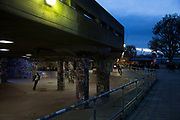 Night view of the Undercroft sakteboarding area on the Southbank, London, United Kingdom. The South Bank is a significant arts and entertainment district, and home to an endless list of activities for Londoners, visitors and tourists alike.