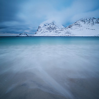 Winter Landscape from Vik Beach, Vik, Vestvågøy, Lofoten Islands, Norway