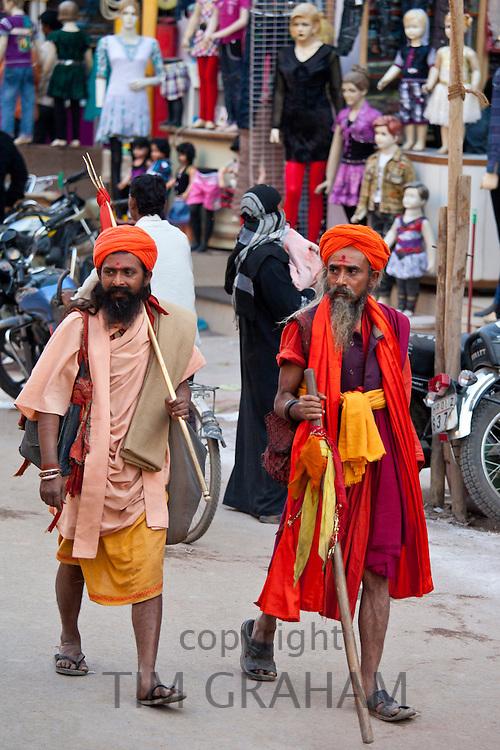 Hindu sadhu pilgrims at Festival of Shivaratri in holy city of Varanasi, Benares, India