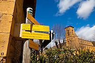 The Wine Route in early spring in Beaujolais, France. The town of Theize.