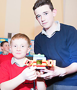 Shane McDermott and Cormac Campbell at the Galway Education centre's Junior First Lego League at the Radisson Blu hotel. Photo:Andrew Downes, xposure.