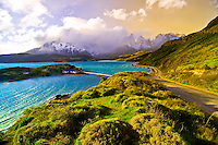 Lake Pehoe with Towers of Paine (Cuernos del Paine Mountains) in background, Torres del Paine National Park, Patagonia, Chile