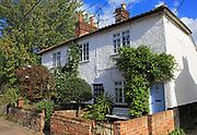 Attractive pretty historic white cottages in Brook Street, Woodbridge, Suffolk, England, UK