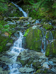 United States, Washington, Crystal Mountain, waterfall at Elizabeth Creek with moss on boulders