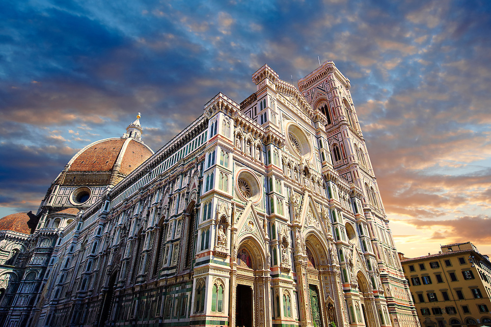 Facade of the the Gothic-Renaissance Duomo of Florence,  Basilica of Saint Mary of the Flower; Firenza ( Basilica di Santa Maria del Fiore ) built between 1293 & 1436. Italy .<br /> <br /> Visit our ITALY PHOTO COLLECTION for more   photos of Italy to download or buy as prints https://funkystock.photoshelter.com/gallery-collection/2b-Pictures-Images-of-Italy-Photos-of-Italian-Historic-Landmark-Sites/C0000qxA2zGFjd_k<br /> .<br /> <br /> Visit our MEDIEVAL PHOTO COLLECTIONS for more   photos  to download or buy as prints https://funkystock.photoshelter.com/gallery-collection/Medieval-Middle-Ages-Historic-Places-Arcaeological-Sites-Pictures-Images-of/C0000B5ZA54_WD0s