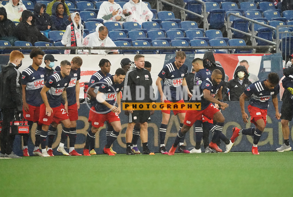 warm-up before New England Revolution and Nashville SC MLS match in FOXBORO, MA on Wednesday, August 4, 2021  The match ended in 0-0. CREDIT/ CHRIS ADUAMA