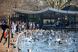 © Licensed to London News Pictures. 30/12/2019. London, UK. Londoners and tourists next to the Serpentine enjoy an unseasonably mild sunny day in Hyde Park, London as forecasters predict warm weather and possibly the the warmest New Year's Eve for over a 170 years. Photo credit: Alex Lentati/LNP