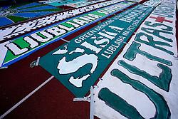 Flags of Fans of Olimpija Green Dragons at final match of 2nd SNL league between NK Olimpija in NK Aluminij, on May 23, 2009, ZAK, Ljubljana, Slovenia. Aluminij won 2:1. NK Olimpija is a Champion of 2nd SNL and thus qualified to 1st Slovenian football league for season 2009/2010. (Photo by Vid Ponikvar / Sportida)