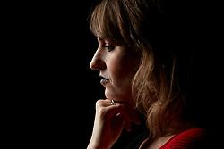 Close up Profile of Thoughtful Woman