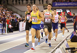 Sweden's Fredrik Samuelsson (centre) leads the race during the Mens Heptathlon 1000m race during day three of the European Indoor Athletics Championships at the Emirates Arena, Glasgow.