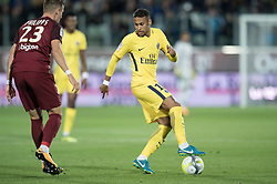 Neymar of PSG and Chris Philipps of FC Metz compete during the Ligue 1 match between FC Metz and Paris Saint Germain at the Stadium Saint Symphorien in Metz, FRANCE on September 8, 2017.Paris Saint Germain won FC Metz  with 5-1. (Credit Image: © Jack Chan/Chine Nouvelle/Xinhua via ZUMA Wire)