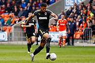 Wimbledon forward Jake Jervis (10), on loan from Luton Town, through on goal during the EFL Sky Bet League 1 match between Blackpool and AFC Wimbledon at Bloomfield Road, Blackpool, England on 20 October 2018.