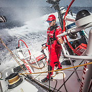 Leg 6 to Auckland, day 09 on board MAPFRE, Blair Tuke at the aft pedestal. 15 February, 2018.