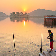 People arriving at Man Sagar lake by sunrise