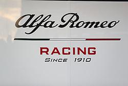 Alfa Romeo Racing branding during day one of pre-season testing at the Circuit de Barcelona-Catalunya.