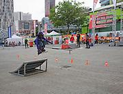 Roller blading Fit for Free Skate Jam youth event demonstration central Rotterdam, Netherlands,