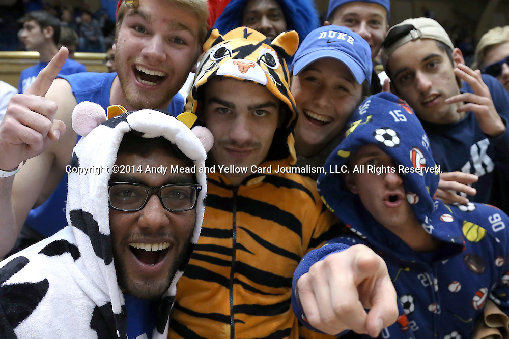 15 November 2014: Cameron Crazies. The Duke University Blue Devils hosted the Fairfield University Stags at Cameron Indoor Stadium in Durham, North Carolina in an NCAA Men's Basketball exhibition game.