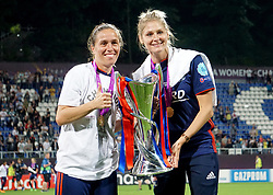 May 24, 2018 - Kiev, Ukraine - L-R Wendie Renard and Camille Abily of Lyon with Trophy.during the UEFA Women's Champions League Final match between VFL Wolfsburg and Olympique Lyonnais  at Kyiv, Ukraine on 24 May 2018. (Credit Image: © Kieran Galvin/NurPhoto via ZUMA Press)