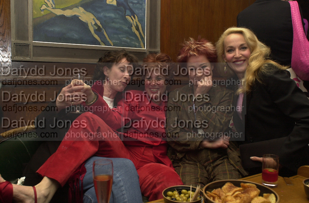 Carmen de Savtoy, Ruby Wax, Zoe Wannamaker and Jerry Hall. The Vagina Monologues first night at the New Ambassador Theatre and afterwards at the ivy. © Copyright Photograph by Dafydd Jones 66 Stockwell Park Rd. London SW9 0DA Tel 020 7733 0108 www.dafjones.com