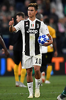Paulo Dybala of Juventus holds the ball of the match for the hat trick ( three goals scored ) <br /> Paulo Dybala con il pallone dell'incontro <br /> Torino 02-10-2018 Juventus Stadium Football Calcio Uefa Champions League 2018/2019 Group H Juventus - Young Boys <br /> Foto Andrea Staccioli / Insidefoto
