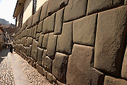 Angled cut stones make up Inca wall  Cusco, Peru