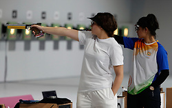 BUENOS AIRES, Oct. 10. 2018  Manu Bhaker (R) of India competes during the women's 10m air pistol final at the 2018 Summer Youth Olympic Games in Buenos Aires, Argentina on Oct. 9, 2018. Manu Bhaker won the gold. (Credit Image: © Xinhua via ZUMA Wire)