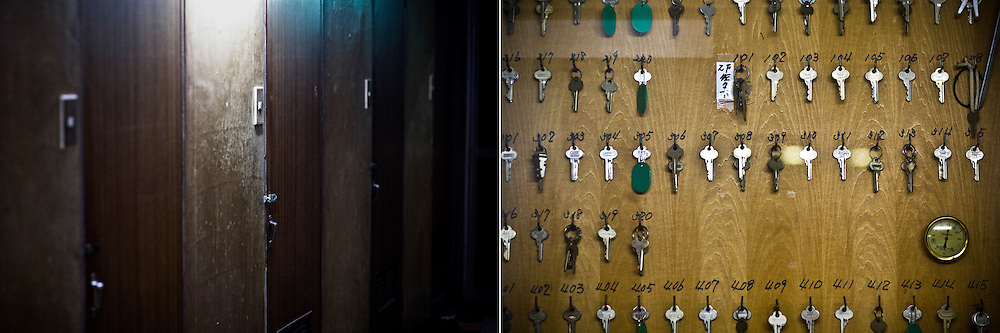 LEFT: Doors of a cheap motel where many day labors and welfare recipients live are seen in Kamagasaki, Japan.<br /> <br /> RIGHT: Keys of cheap motel where many day labors and welfare recipients stay are seen in Kamagasaki, Japan.