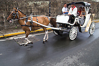 Calesa (sometimes spelled kalesa) is a horse drawn carraige in the Philippines. They were introduced to the islands in the 18th century by Spanish colonisers.  Today they are rarely used in the streets except in the tourist areas of old cities and a few rural areas.  The word comes from Spanish.  A kalesa is an inclined cart and drawn by a single horse.  Manila was once teeming with calesas, but these declined in popularity after the Second World War.  Although the calesa has become a rarity, century-old examples are still preserved in areas of the Philippines, such as in Vigan and Intramuros, where they cater to tourists.  Only in Tuguegarao are the carriages a part of the traffic along with cars, tricycles, jeepneys and motorbikes.