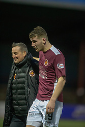 Stenhousemuir's Andy Munro at the end. Stenhousemuir 1 v 0 Airdrie, Scottish Football League Division One played 26/1/2019 at Ochilview Park.