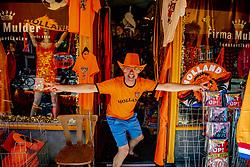 A shop sells orange items for fans ahead of the UEFA Euro 2020 starting on June 11. Groningen, Netherlands, June 1, 2021. Photo by Robin Utrecht/ABACAPRESS.COM