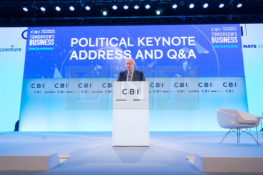 © Licensed to London News Pictures. 18/11/2019. London, UK. British Prime Minister Boris Johnson makes a keynote speech at the annual Confederation of British Industry annual conference. Photo credit: Ray Tang/LNP