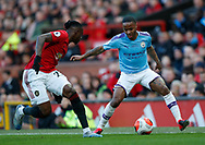 Raheem Sterling of Manchester City tracked by Aaron Wan-Bissaka of Manchester United during the Premier League match at Old Trafford, Manchester. Picture date: 8th March 2020. Picture credit should read: Darren Staples/Sportimage