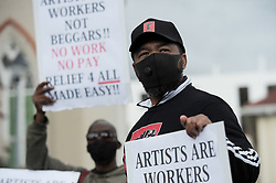 South Africa - Cape Town - 16 September 2020 - Artists from various differentindustries protested outside the gates of parliament. Photographer: Armand Hough/African News Agency(ANA)
