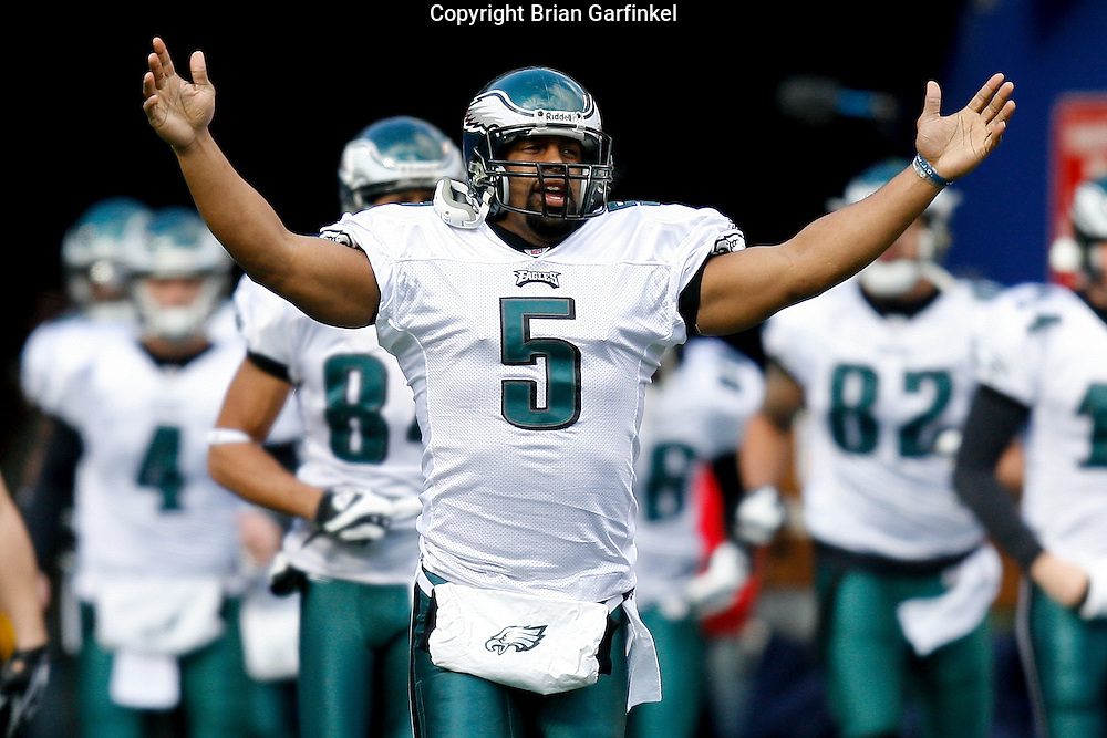 11 Jan 2009: Philadelphia Eagles quarterback Donovan McNabb #5 enters the field before the game against the New York Giants on January 11th, 2009.  The  Eagles won 23-11 at Giants Stadium in East Rutherford, New Jersey.