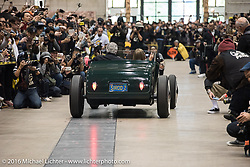 Pete Chapouris driving his 1926 Ford Track Roadster into the Mooneyes Yokohama Hot Rod & Custom Show staging area before the Grand Entry into the Pacifico exhibition hall. Yokohama, Japan. December 3, 2016.  Photography ©2016 Michael Lichter.