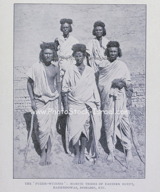 """The ' fuzzie wuzzies ' hamite tribes of eastern Egypt Hadendowas, Bisharis, etc [""""Fuzzy-Wuzzy"""" was the term used by British soldiers for Beja warriors who were supporting the Mahdi of Sudan in the Mahdist War. The term relates to the elaborate tiffa hair style favoured by the Hadendoa tribe, a subdivision of the Beja people. ] From the Book '  Britain across the seas : Africa : a history and description of the British Empire in Africa ' by Johnston, Harry Hamilton, Sir, 1858-1927 Published in 1910 in London by National Society's Depository"""
