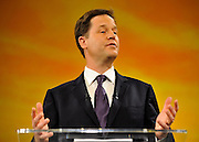 © Licensed to London News Pictures. 21/09/2011. BIRMINGHAM, UK. Deputy Prime Minister Nick Clegg delivers his keynote speech at the Liberal Democrat Conference at the Birmingham ICC today (21 Sept 2011): Stephen Simpson/LNP