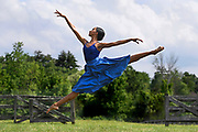 TIVOLI, NY - AUG 2:  Dancer Courtney Lavine leaps in a field nearby the stage she will dance on at Kaatsbaan International Dance Center, Sunday, Aug. 2, 2020, in Tivoli, New York. (Photo by Jessica Hill for the Washington Post)