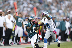 Philadelphia Eagles wide receiver DeSean Jackson (10) catches a pass with Detroit Lions cornerback Chris Houston (23) defending during the NFL game between the Detroit Lions and the Philadelphia Eagles on Sunday, October 14th 2012 in Philadelphia. The Lions won 26-23 in Overtime. (Photo by Brian Garfinkel)