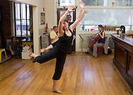 North Branch, New York - Donlin Foreman and Jennifer Emerson, dancers and choreographers of On Common Ground, rehearse with Andrew Waggoner, on violin, and Caroline Stinson, on cello, for a Weekend of Chamber Music performance at the North Branch Inn on July 24, 2014.